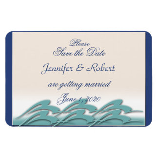 Waves of Love Navy Wedding Save the Date Rectangle Magnets