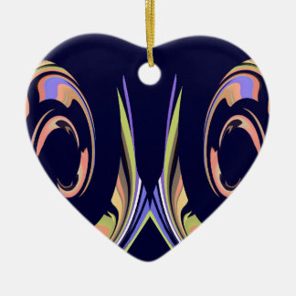 Waves of Peach, Green, White on Navy Blue Ceramic Ornament