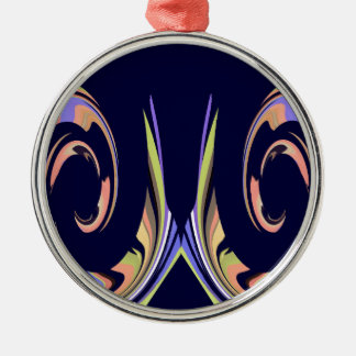 Waves of Peach, Green, White on Navy Blue Metal Ornament