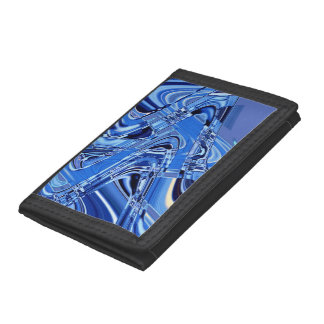 waves of roads in blue trifold wallet