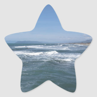 Waves of the sea on the sand beach star sticker