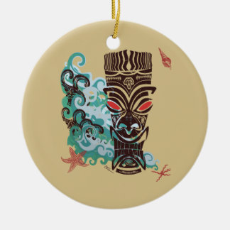 Waves of TIki Ceramic Ornament