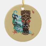 Waves of TIki Double-Sided Ceramic Round Christmas Ornament