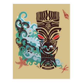 Waves of TIki Postcard