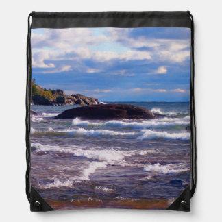 Waves On Lake Superior Drawstring Bag