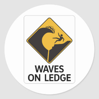 Waves On Ledge (2), Sign, Hawaii, US Classic Round Sticker