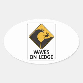 Waves On Ledge (2), Sign, Hawaii, US Oval Sticker