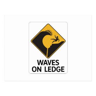 Waves On Ledge (2), Sign, Hawaii, US Postcard