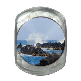 Waves on Maui Coast Glass Candy Jar