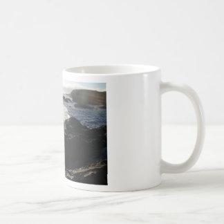 Waves on rocks classic white coffee mug