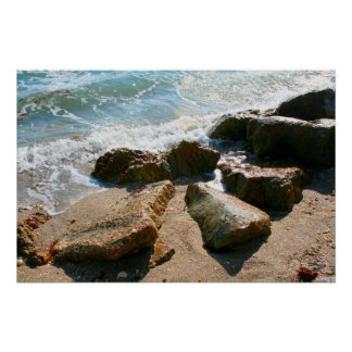 waves on rocks on beach shore image poster