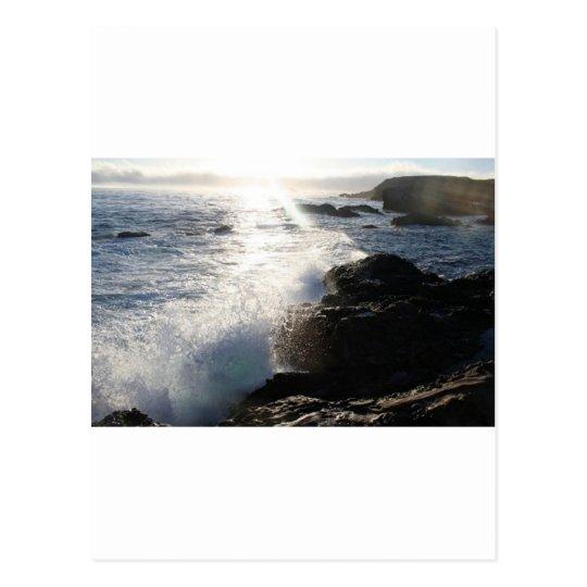Waves on rocks postcard