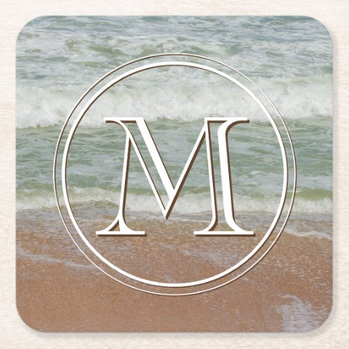 Waves On the Beach Photograph Monogrammed Initial Square Paper Coaster