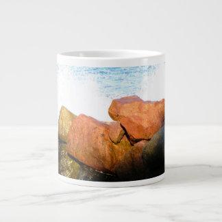 Waves on the Rocks; No Text Large Coffee Mug