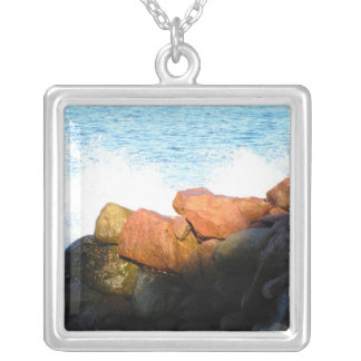 Waves on the Rocks; No Text Square Pendant Necklace