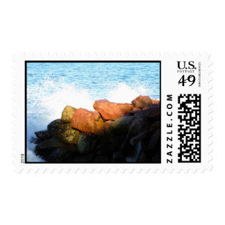 Waves on the Rocks; No Text Postage Stamp