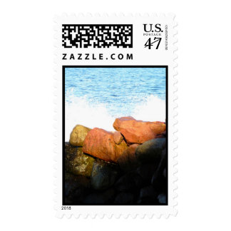 Waves on the Rocks; No Text Stamp