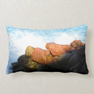 Waves on the Rocks; No Text Throw Pillows