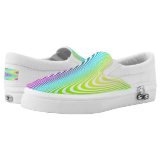 Waves pattern - white colored III + your ideas Slip-On Sneakers