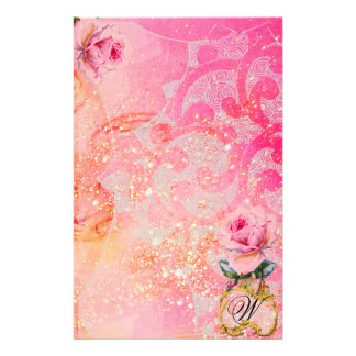 WAVES ,PINK ROSES IN GOLD SPARKLES AND SWIRLS STATIONERY