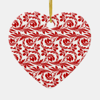 Waves, Red-White-Heart Shaped Ornament