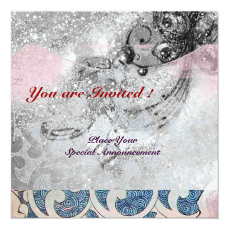 WAVES RUBY, bright black & white blue pink sparkle Card