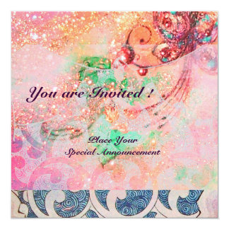 WAVES RUBY, bright red  blue pink gold sparkles Card