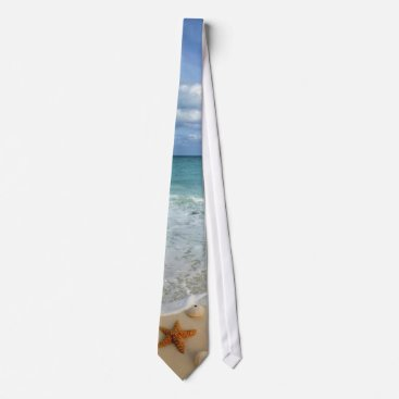 Beach Themed Waves & Shells Neck Tie