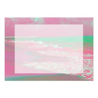 waves solarized magenta green beach abstract card
