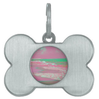 waves solarized magenta green beach abstract pet name tags
