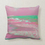 waves solarized magenta green beach abstract pillow
