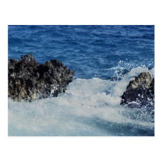 Waves Splashing On Coral Rock Postcard