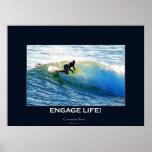Waves Surfboard-rider Surfing Motivational Art Poster