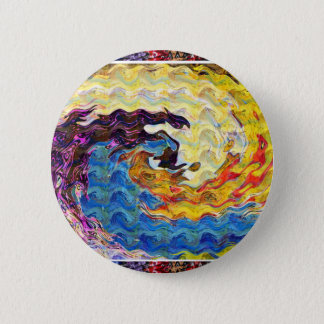 Waves Twirl Hightide tide Colorful Curves Oval FUN Button