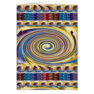 Waves Twirl Hightide tide Colorful Curves Oval FUN Greeting Card