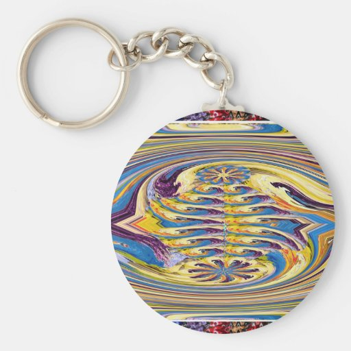 Waves Twirl Hightide tide Colorful Curves Oval FUN Keychain
