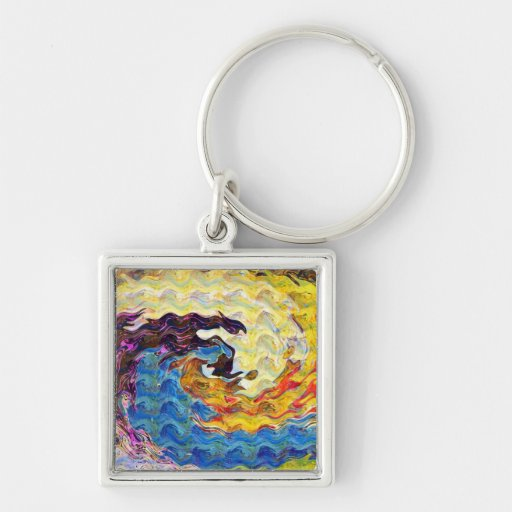 Waves Twirl Hightide tide Colorful Curves Oval FUN Keychains