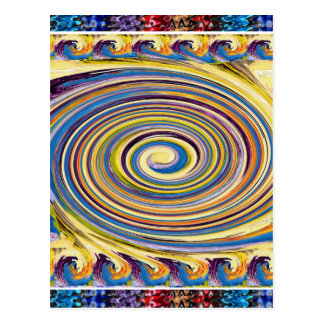 Waves Twirl Hightide tide Colorful Curves Oval FUN Postcard