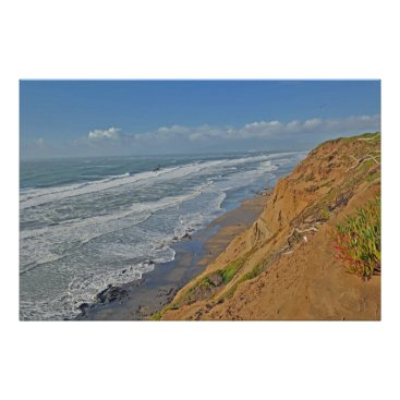 Beach Themed Waves upon Funston Poster