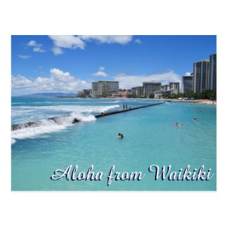 Waves Waikiki Beach Honolulu Hawaii Pacific Ocean Postcard