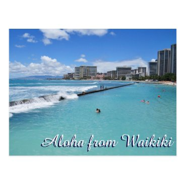 Beach Themed Waves Waikiki Beach Honolulu Hawaii Pacific Ocean Postcard