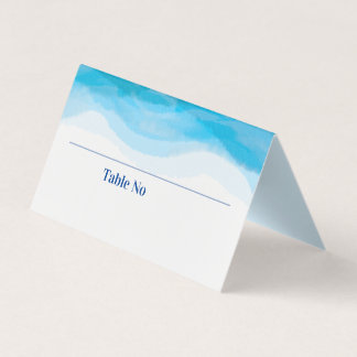 Waves Watercolor Wedding Table Number Place Card