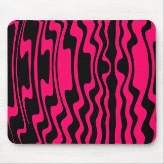 Wavey Stripey - Black and Crimson Mouse Pad