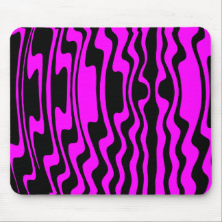 Wavey Stripey - Black and Magenta Mouse Pad
