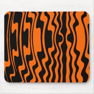 Wavey Stripey - Black and Orange Mouse Pad