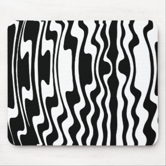 Wavey Stripey - Black and White Mouse Pad