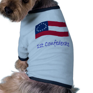 Waving 1st Confederate Flag And Name Dog Tee