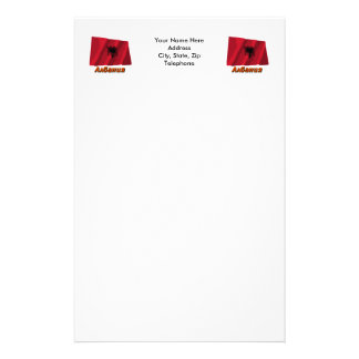 Waving Albania Flag with name in Russian Stationery