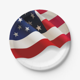 """Waving American Flag 7"""" Party Paper Plates"""