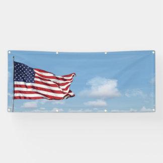 waving American Flag and sky blank Banner